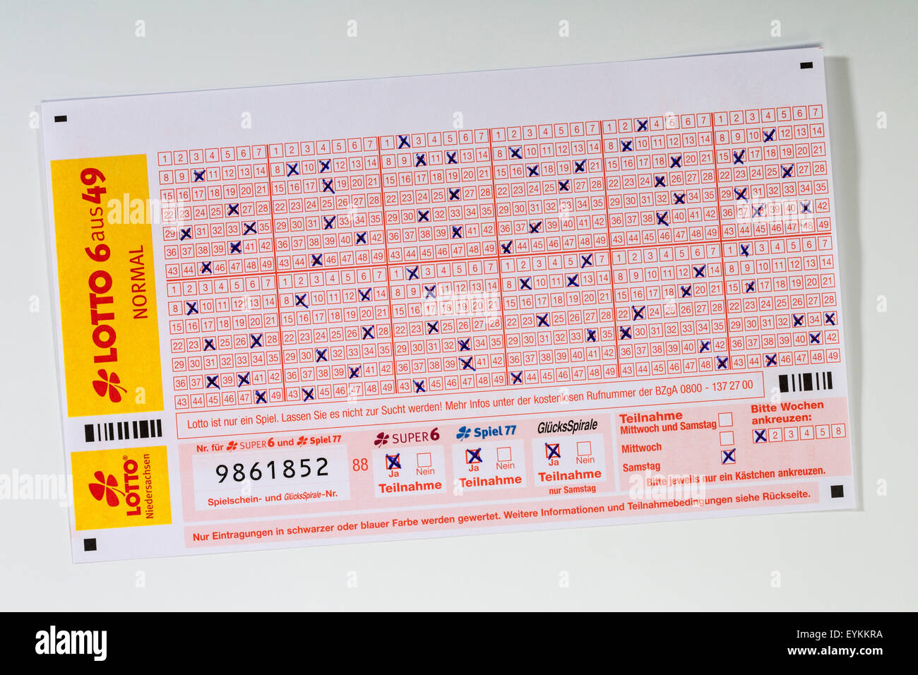 Lottery coupon, satisfactorily, Stock Photo