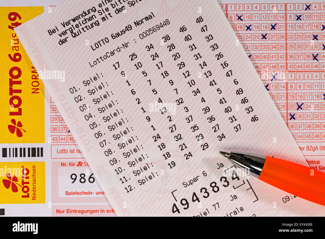 Lottery coupon, fills out, receipt, ballpoint pen, detail, - Stock Image