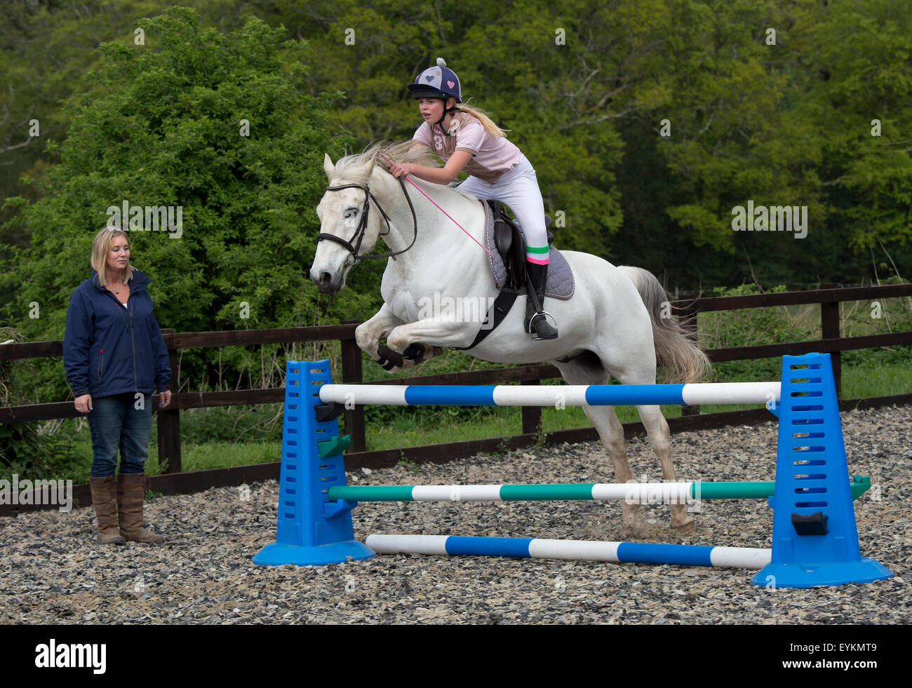 Ella Manning Training Her Horse Turner In A Showjumping Stock Photo Alamy