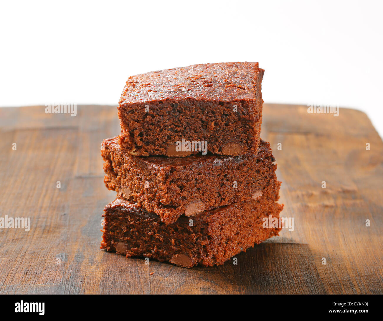 Pile of Fudgy Chocolate Chip Brownies - Stock Image