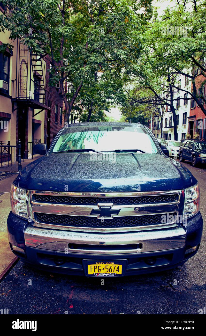 The USA, New York city, town, street, passenger car, rain, America, - Stock Image