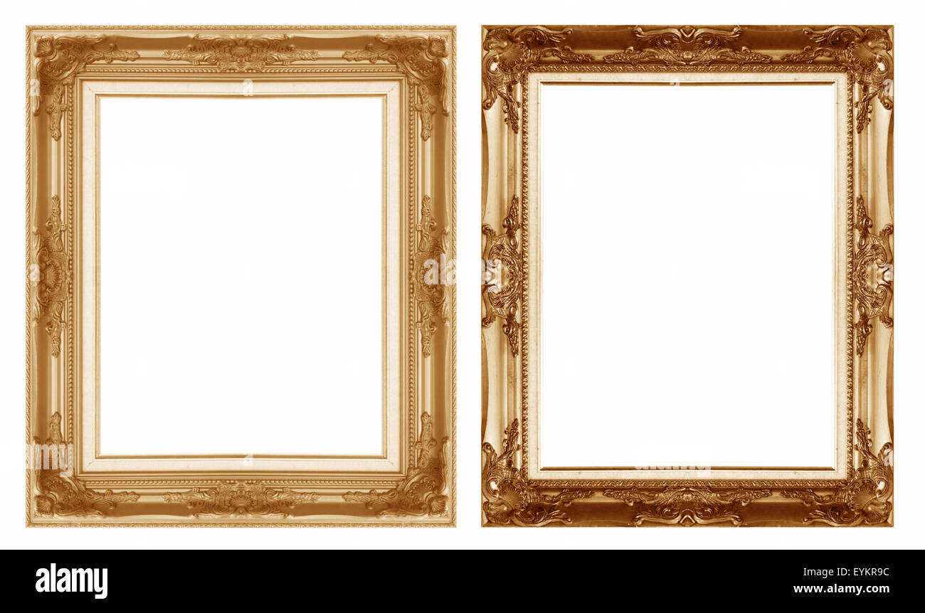 Old antique gold picture frame wall, wallpaper, decorative objects isolated white background. - Stock Image