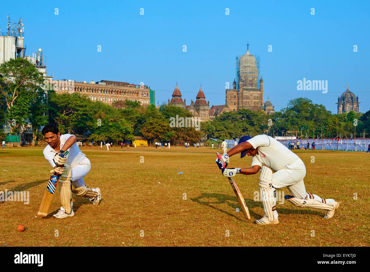 India, Maharashtra, Mumbai (Bombay), cricket party on the Maidan - Stock Image