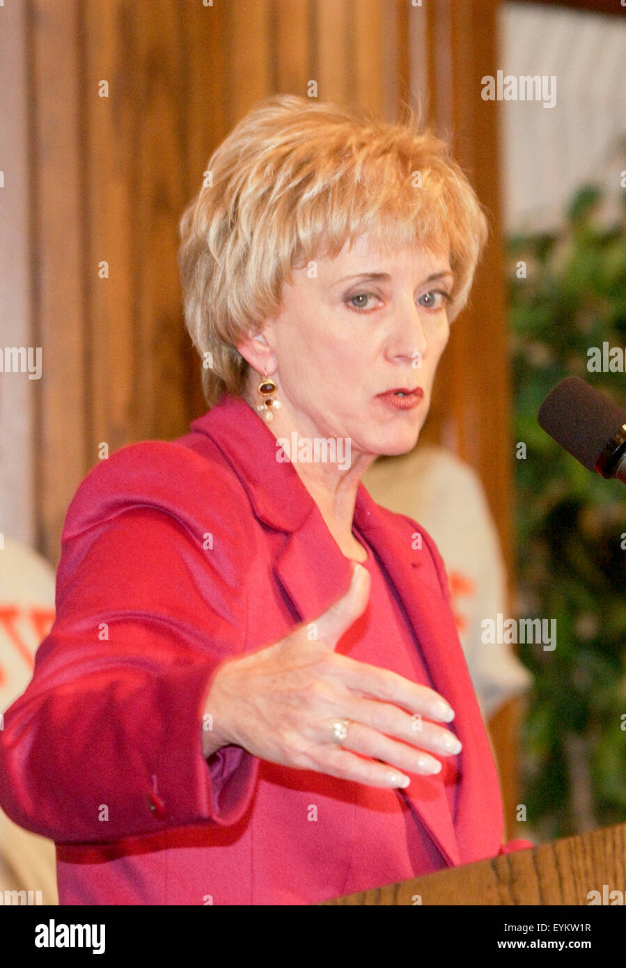 WWE CEO Linda McMahon Attends A Smack Down Your Vote News Conference In Washington DC