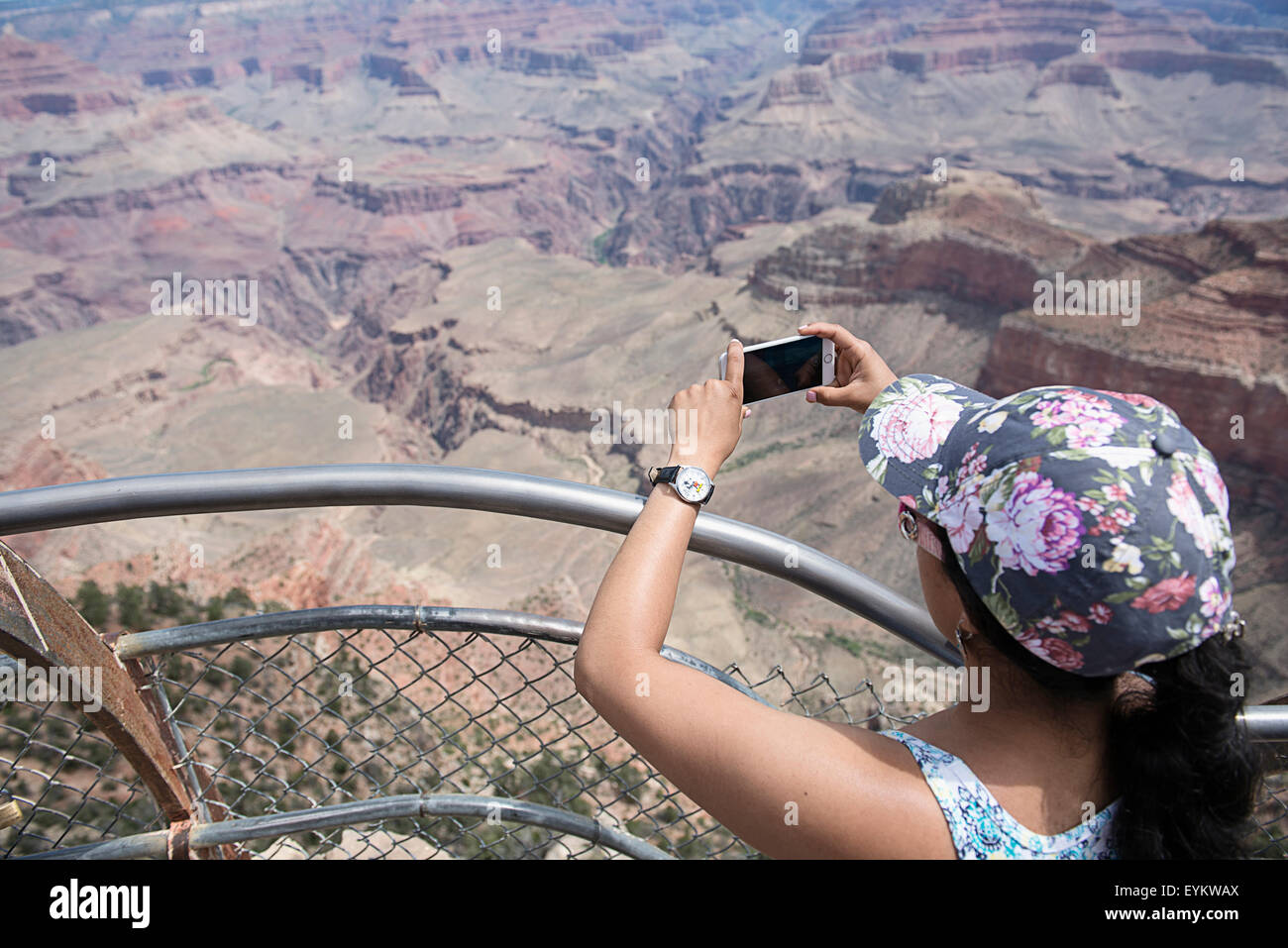 A woman taking photos of the Grand Canyon on her iphone. - Stock Image