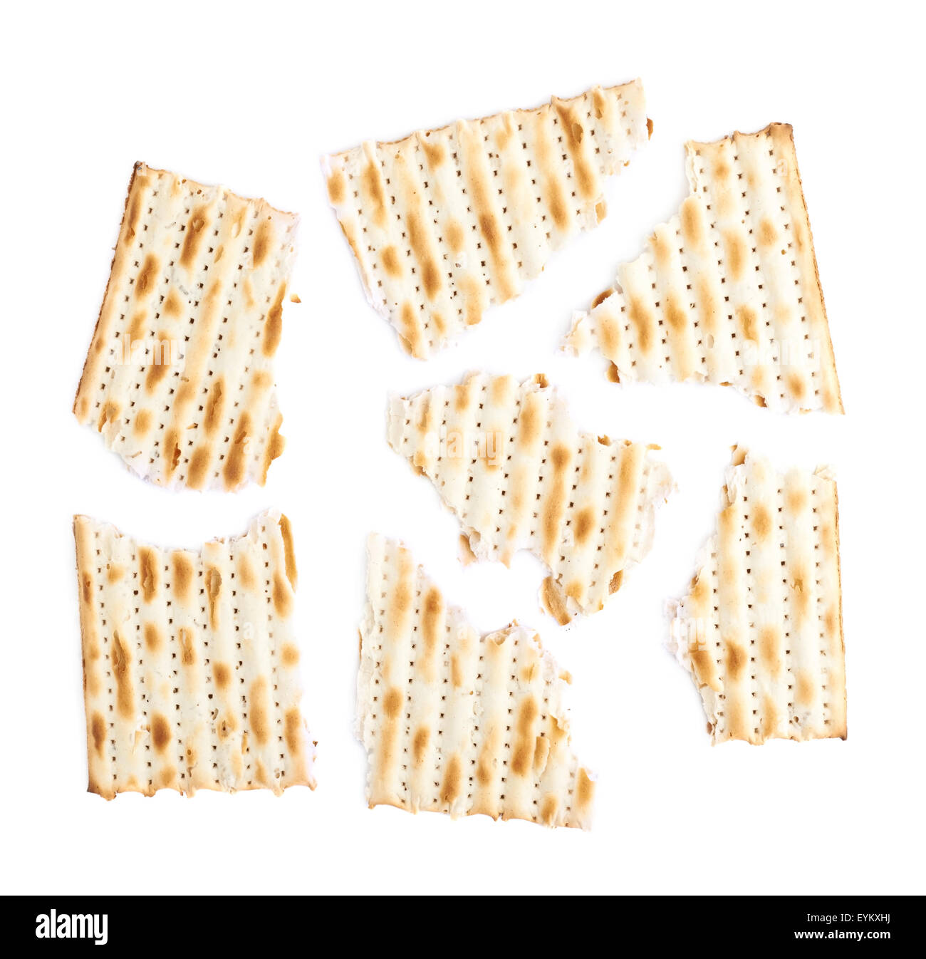 Cracked machine made matza flatbread - Stock Image