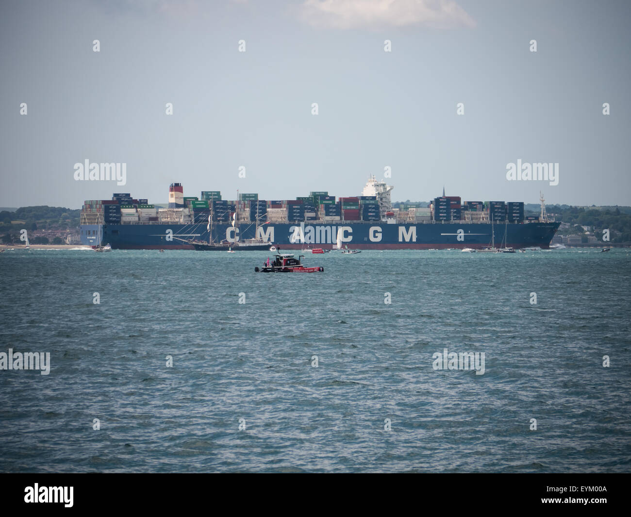 A CMA CGM container vessel in the Solent, England - Stock Image