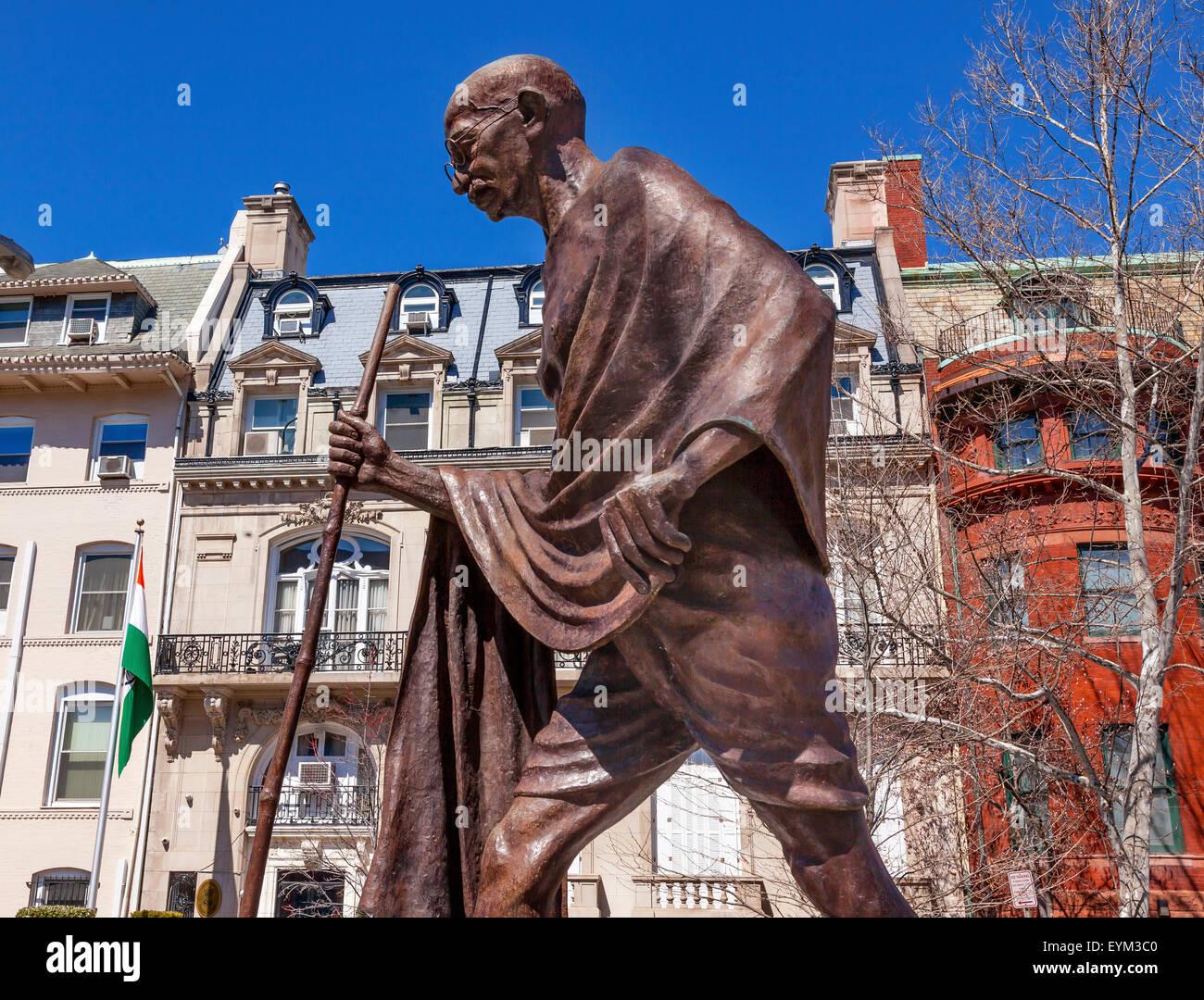 Mahatma Mohandas Gandhi Public Statue Front of Indian Embassy Embassy Row Massachusetts Ave Washington DC. - Stock Image