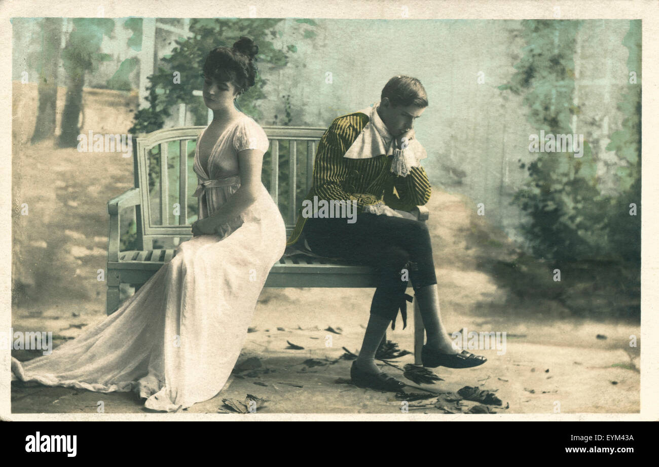 Postcard, are quiet historically, couple on park-bench, quarrel, turn away, - Stock Image