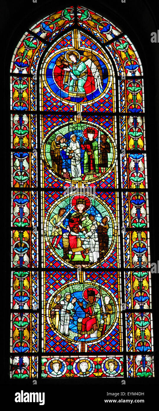 STRASBOURG, FRANCE - MAY 9, 2015: Stained glass depicting The Judgment of Solomon in the cathedral of Strasbourg, Stock Photo