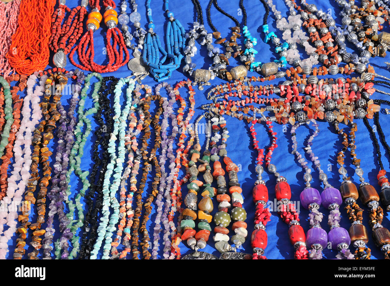 Jewellery things to the sales, Ourika valley, the Atlas Mountains, Morocco, - Stock Image