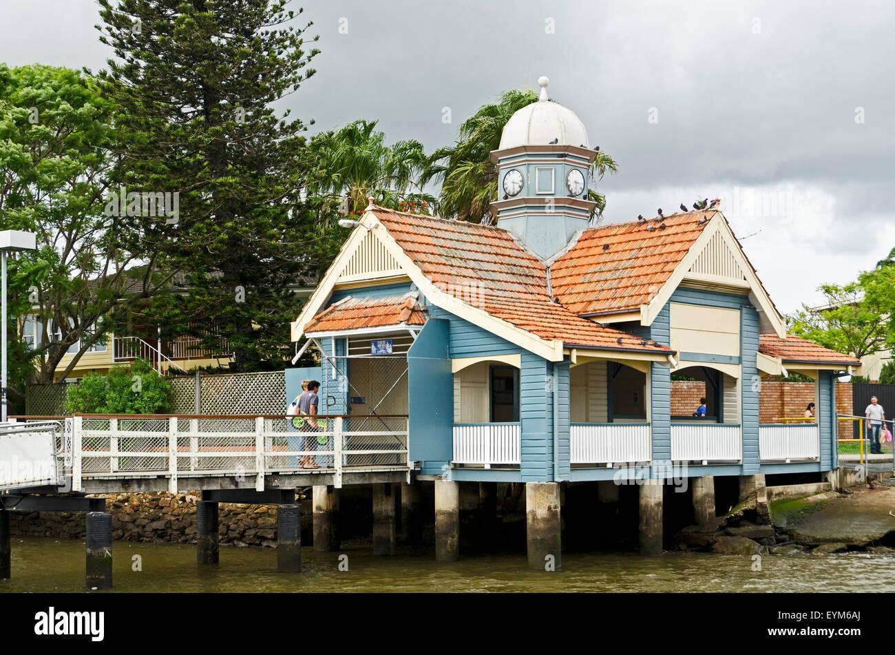 Australia, Brisbane, River, landing station of the Citycats, - Stock Image