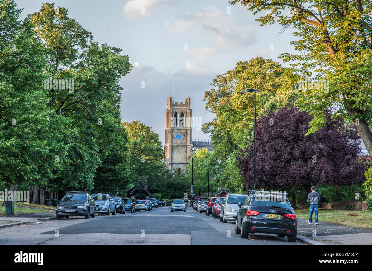 Sydenham Avenue in Sydenham South London with a view of St Bartholomew's Parish Church where the explorer Ernest - Stock Image
