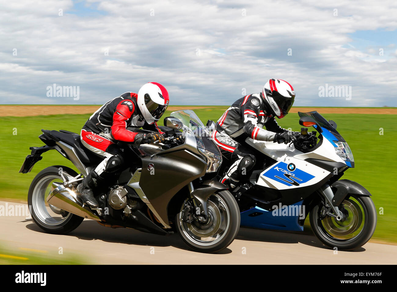 motorcycles bmw k 1300 s hp and honda vfr 1200 f dct year of stock photo 85881895 alamy. Black Bedroom Furniture Sets. Home Design Ideas