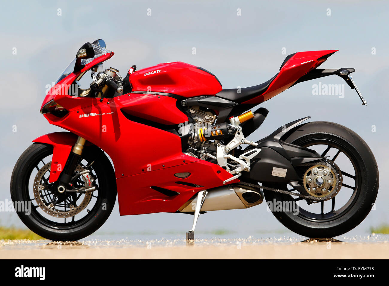 Motorcycle, Ducati Panigale, red, side standard left, - Stock Image