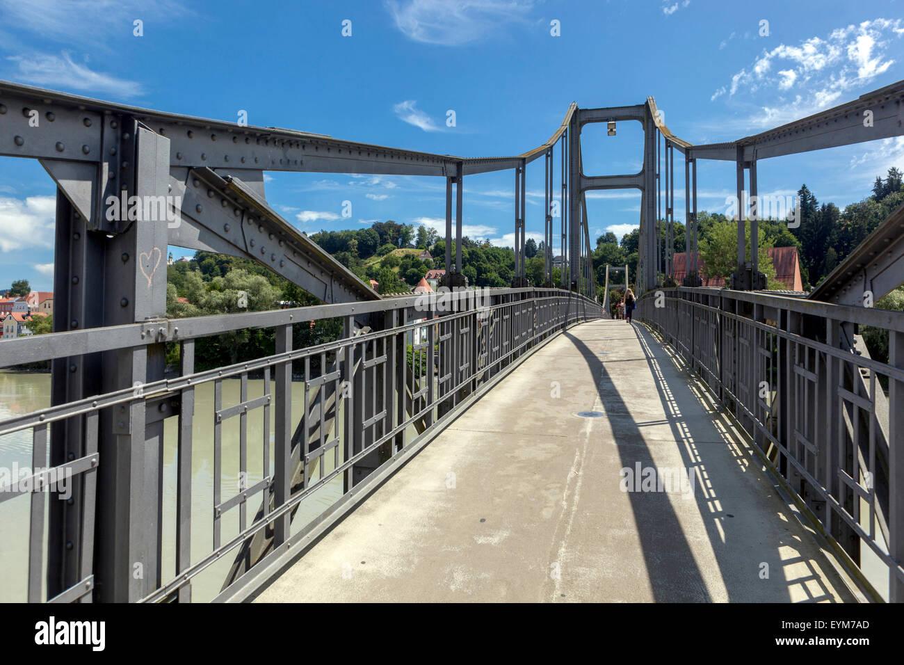 Pedestrian bridge across the river Inn. Passau, Lower Bavaria, Germany - Stock Image