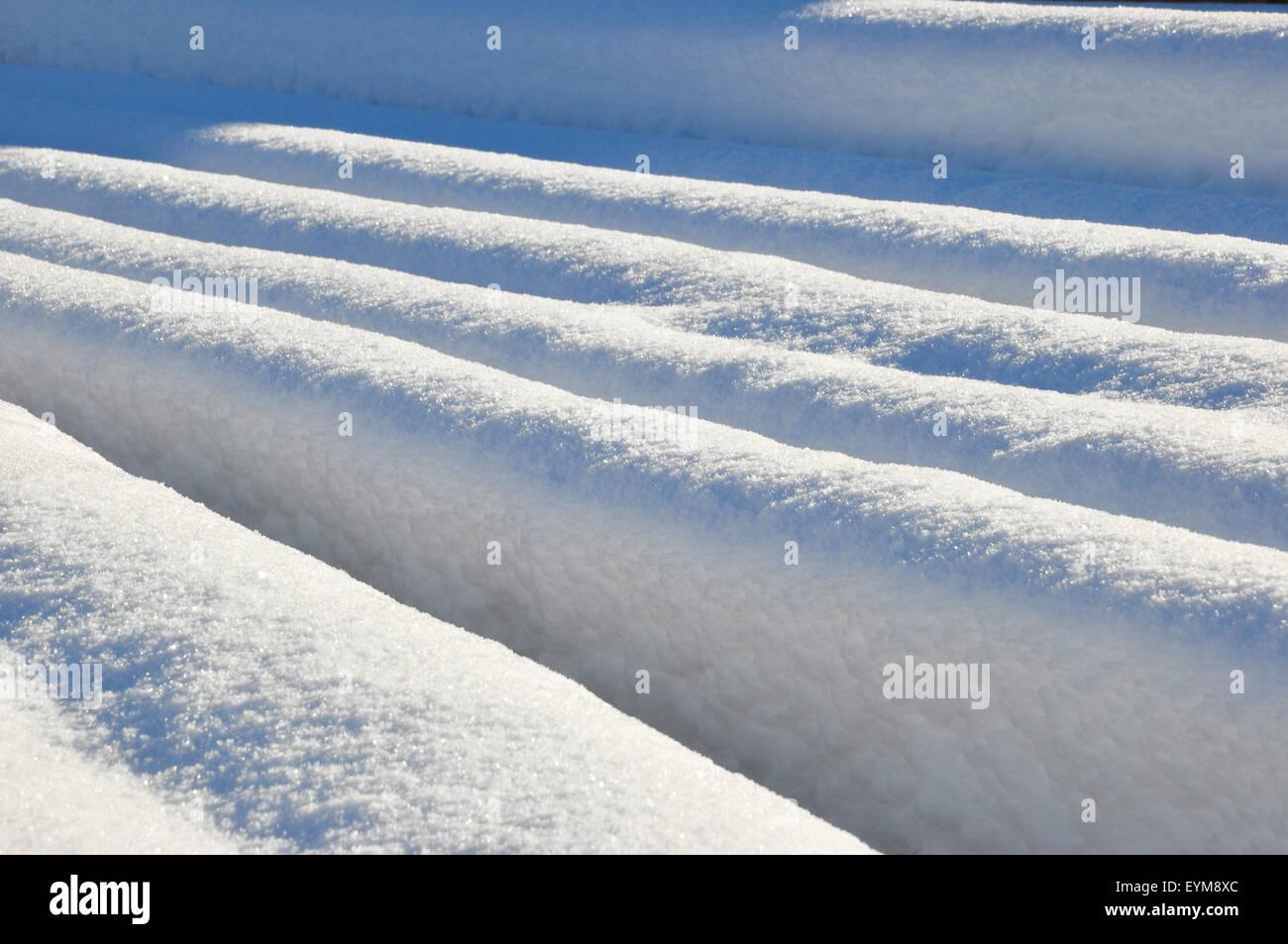 Sägewerk, Baumstämme, verschneit - Stock Image