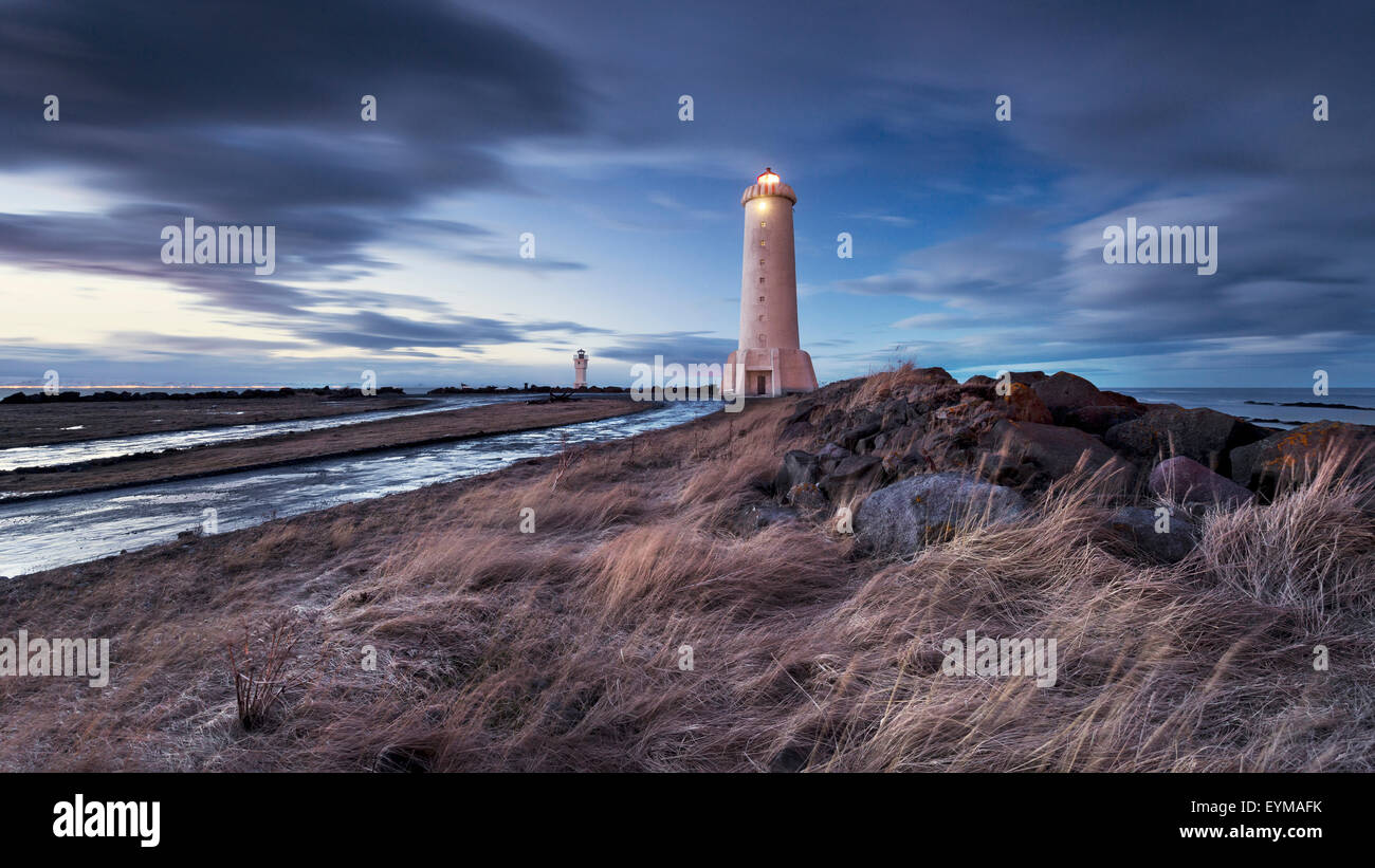 Akranes, lighthouse, Iceland, atmosphere, blue, lights, sea, clouds - Stock Image