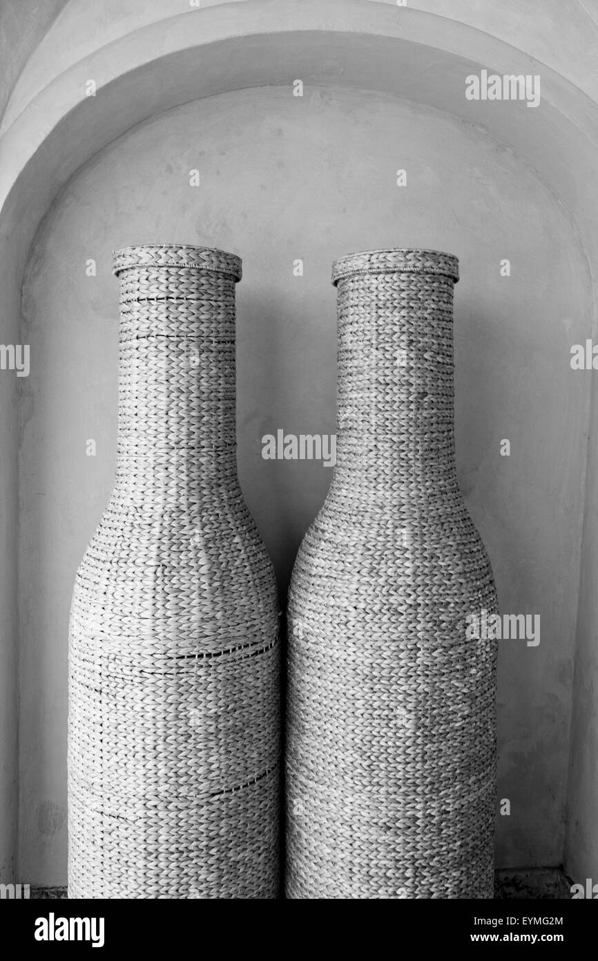 Basketwork, Bottle container, twisted, b/w, - Stock Image