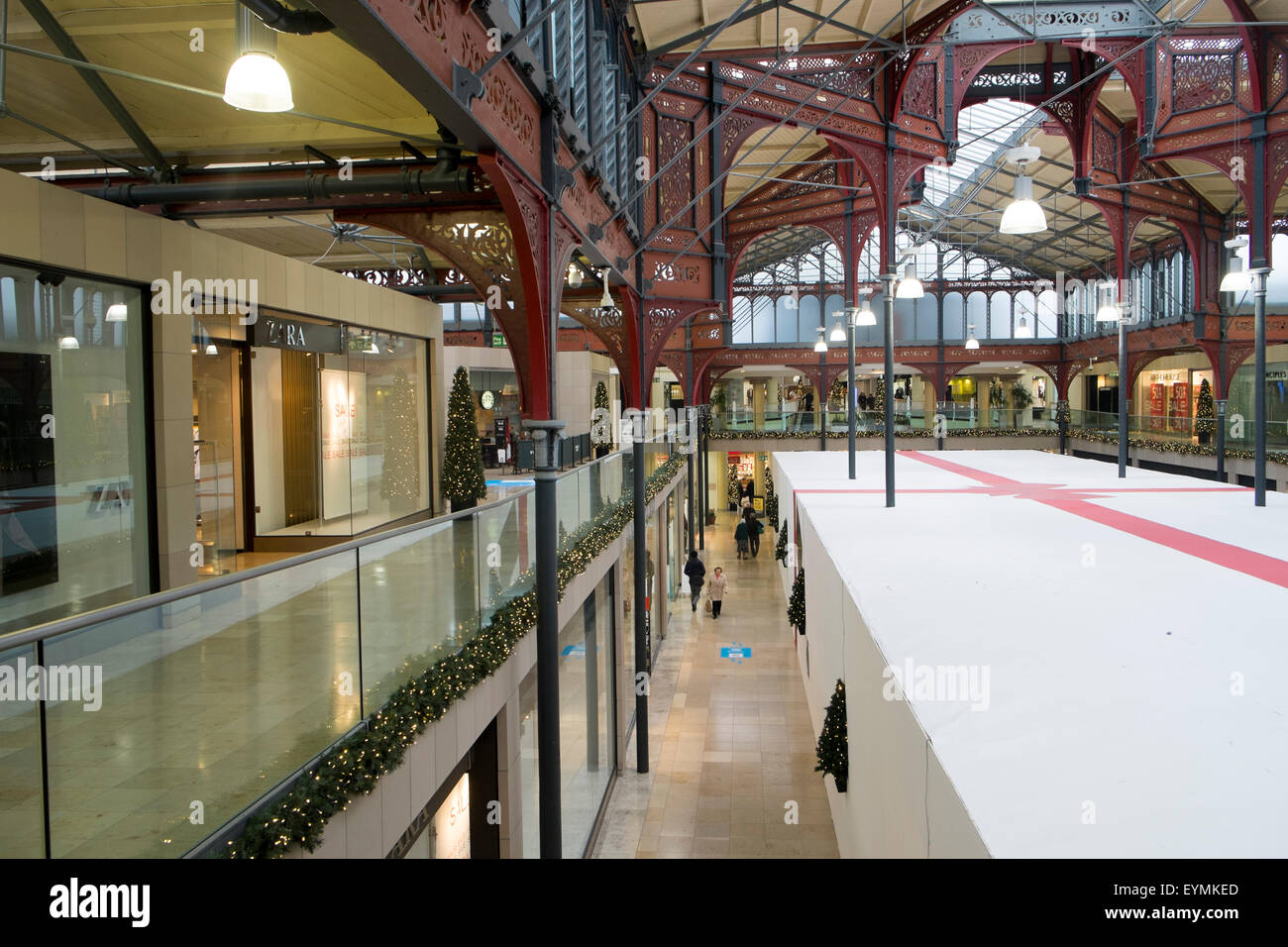 Market hall in the lancashire town of Bolton is a shopping mall , it was originally opened in 1855, lancashire,england - Stock Image