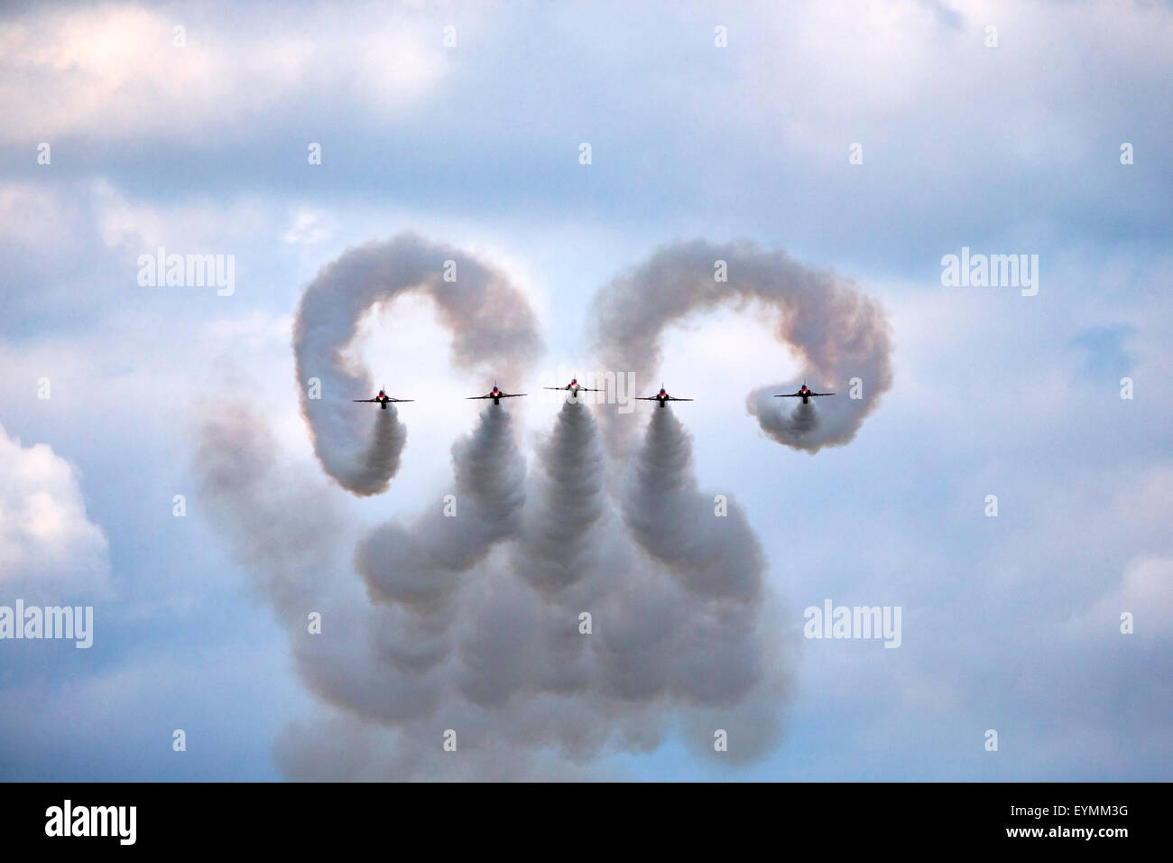 The Red Arrows air display team demonstrating their new manoeuvre - Cobra at the Battle of Britain 75th Anniversary - Stock Image