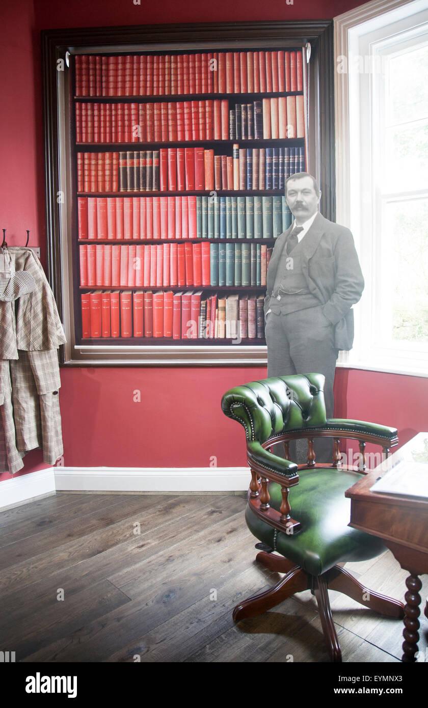 Writer Sir Arthur Conan Doyle display in Dartmoor national park visitor centre, Princetown, Devon, England, UK - Stock Image