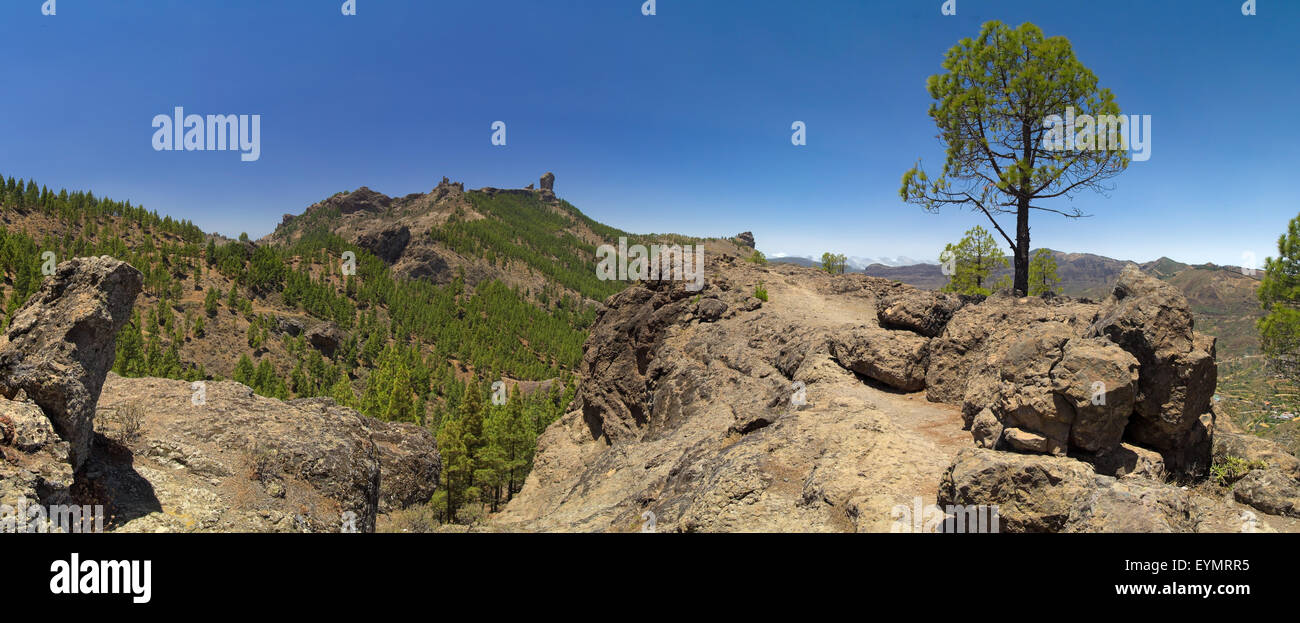 Inland Central Gran Canaria, view towards Roque Nublo from east Stock Photo