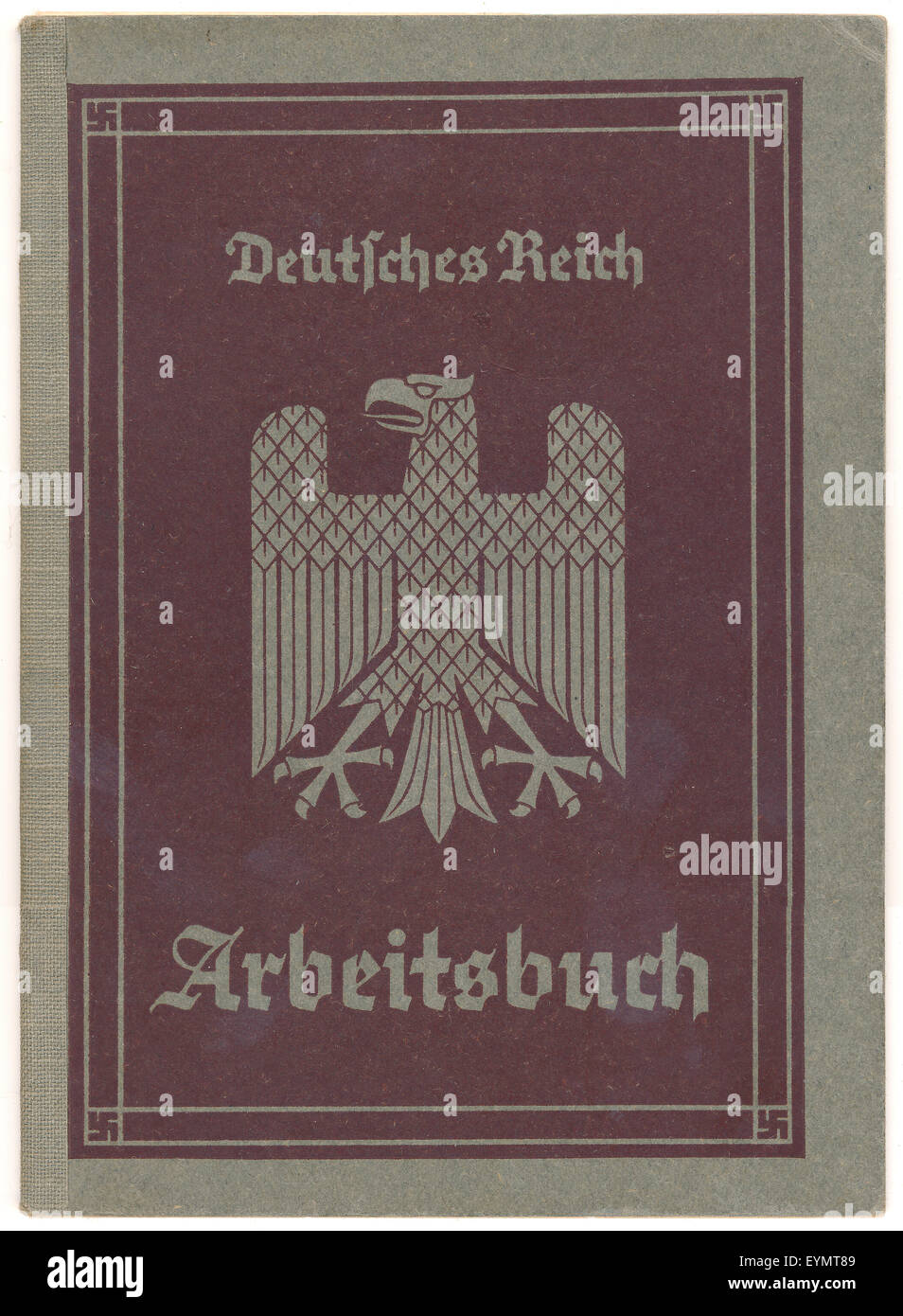 An employment record book or Arbeitsbuch of the German Empire, 1940, Germany, Europe, - Stock Image