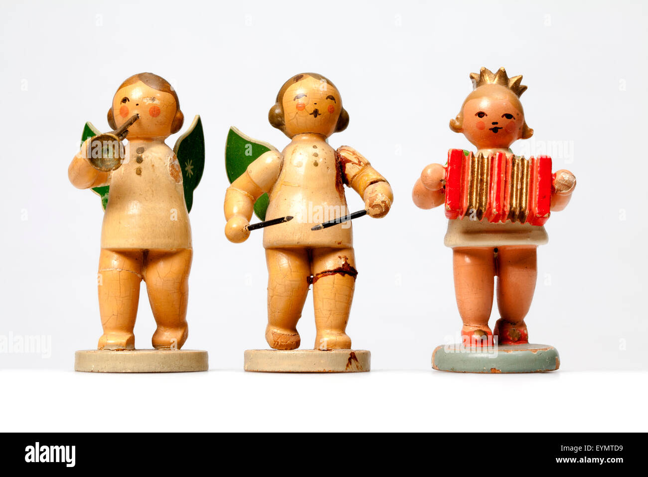 Broken wooden angels playing musical instruments, from the Erzgebirge, Germany, Europe, - Stock Image
