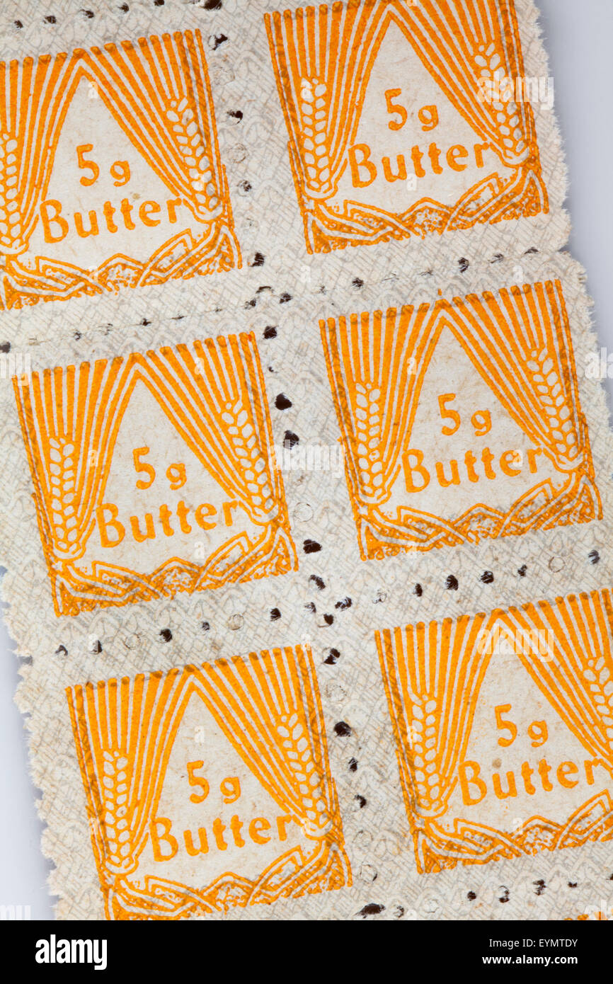 post-war ration cards to buy products for Nutrition, 1950, North Rhine-Westphalia, Federal Republic of Germany, - Stock Image