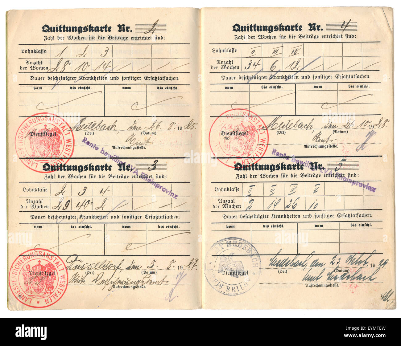 Document for Disability Insurance, Germany, 1927, - Stock Image