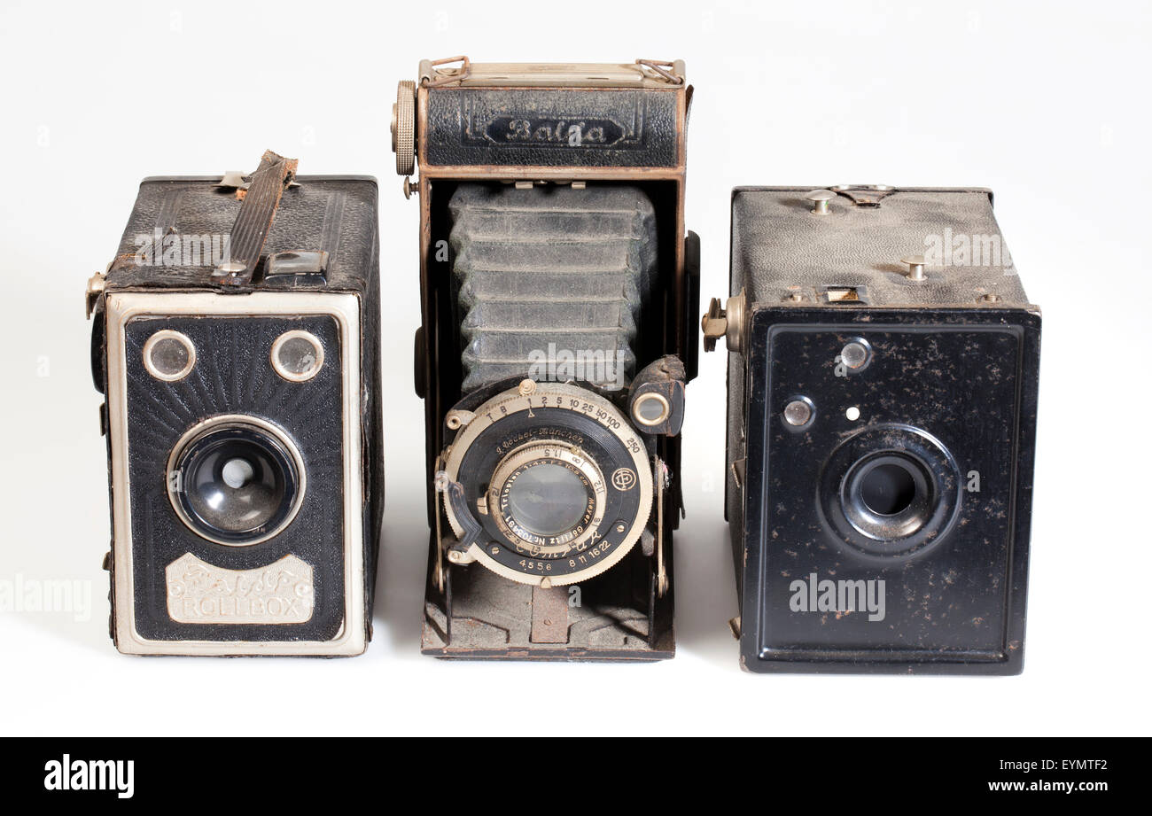 old Balda box cameras - Stock Image