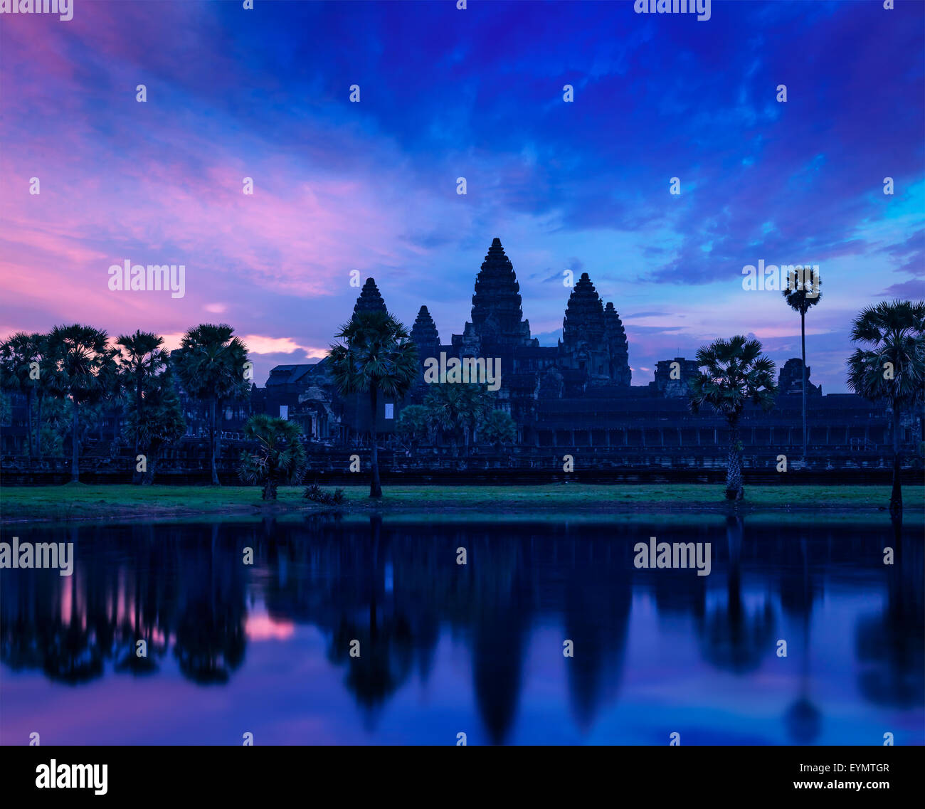 Angkor Wat - famous Cambodian landmark - on sunrise. Siem Reap, Cambodia - Stock Image