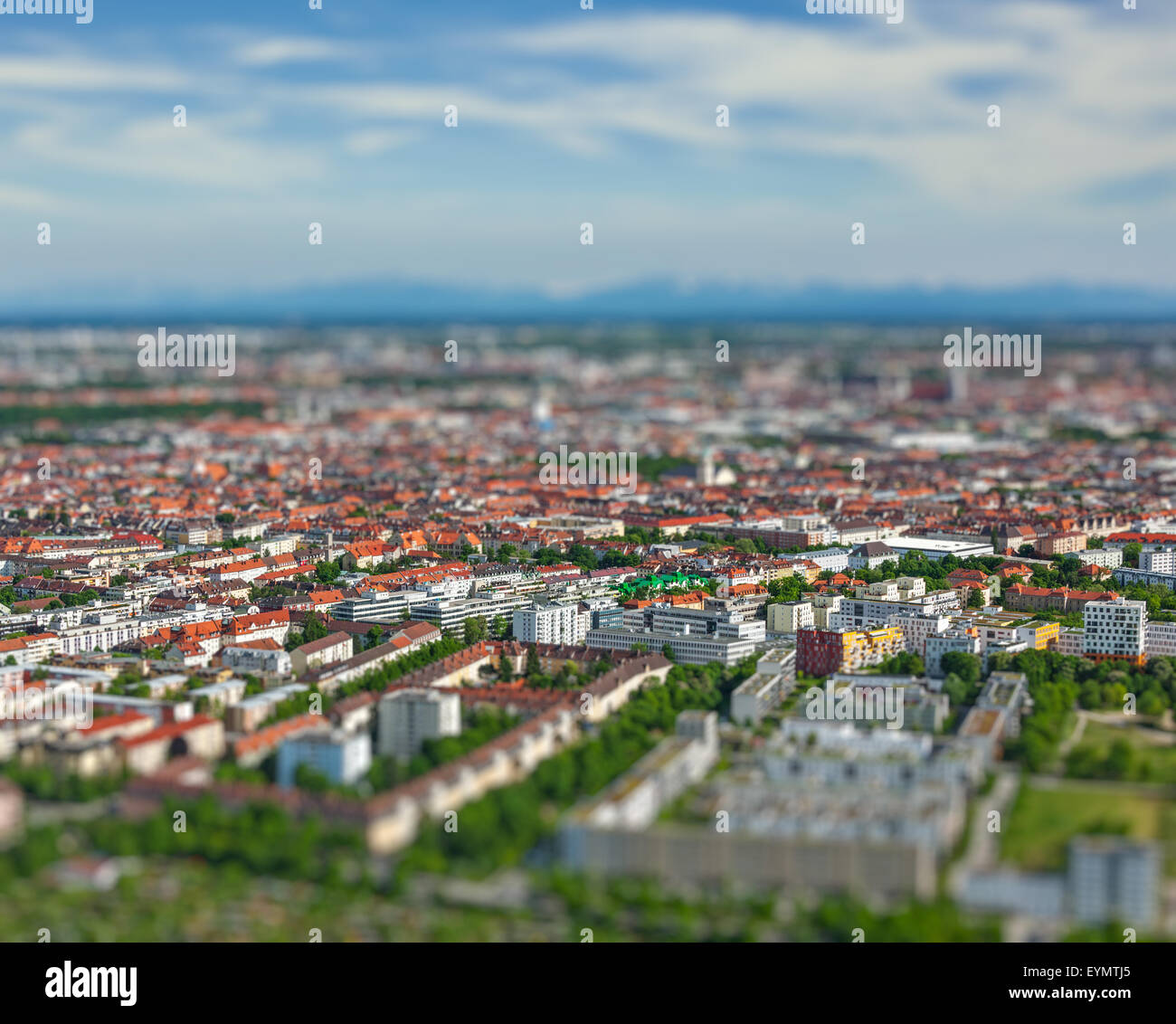 Aerial view of Munich from Olympiaturm Olympic Tower. Munich, Bavaria, Germany with tilt shift toy effect shallow - Stock Image