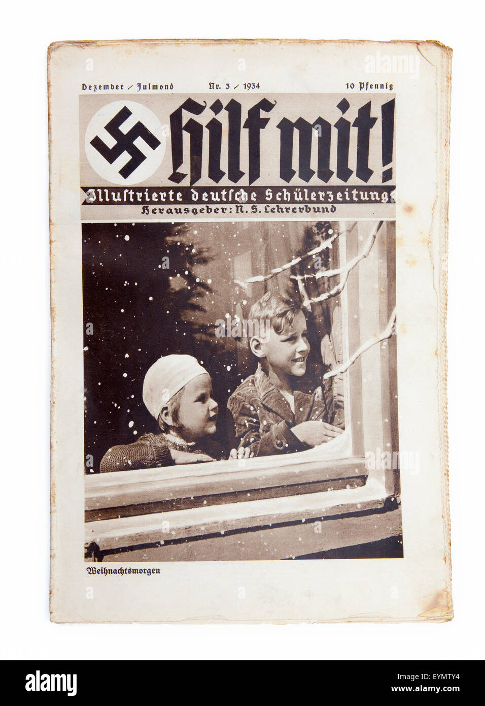"Nazi-German Propaganda for children, pupil magazine ""Help"" or ""Hilf mit"", 1934, Stock Photo"