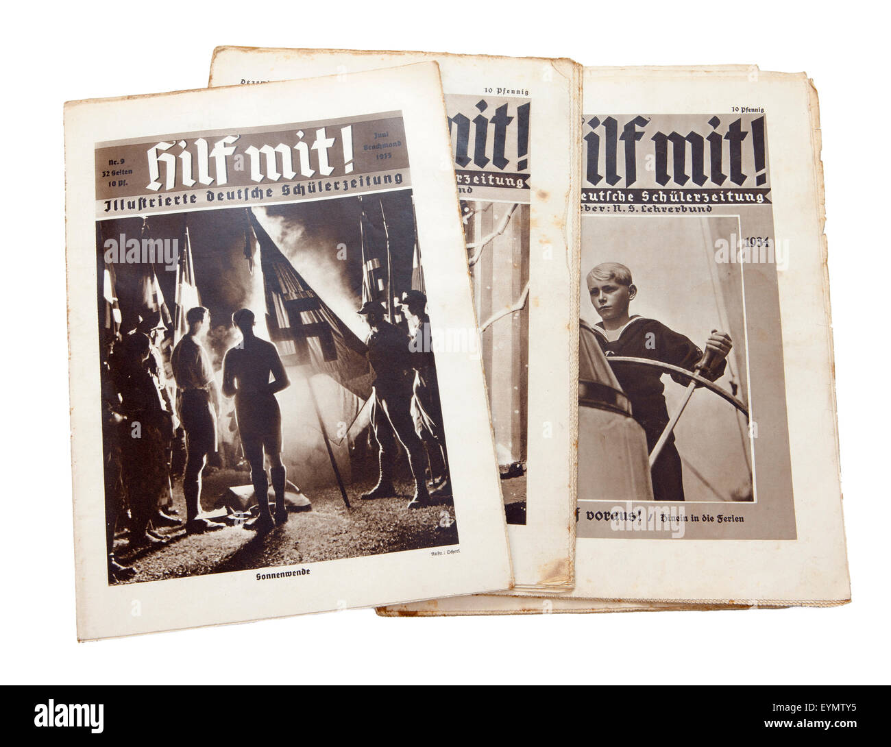 Nazi-German Propaganda for children, pupil magazine 'Help' or 'Hilf mit', 1934, - Stock Image