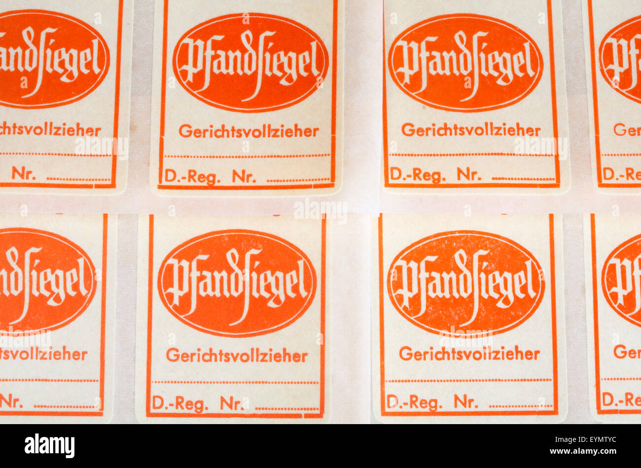 Bailiff deposit seals, Germany, Europe - Stock Image