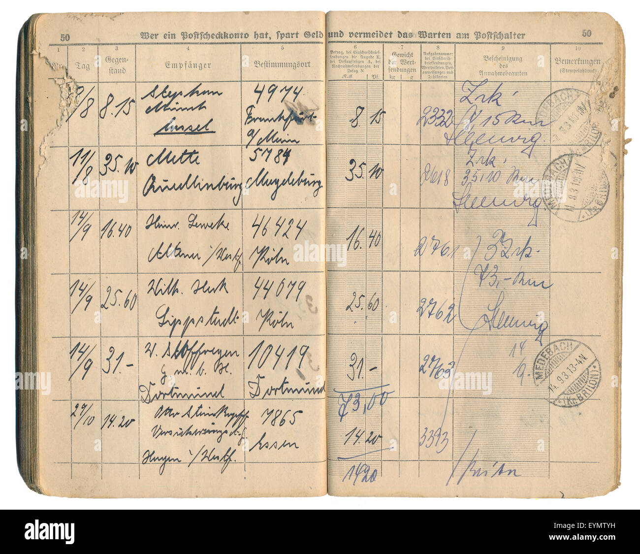 Old German post office recorded delivery book from 1931, recording of entries and signatures, German Empire, Europe, - Stock Image