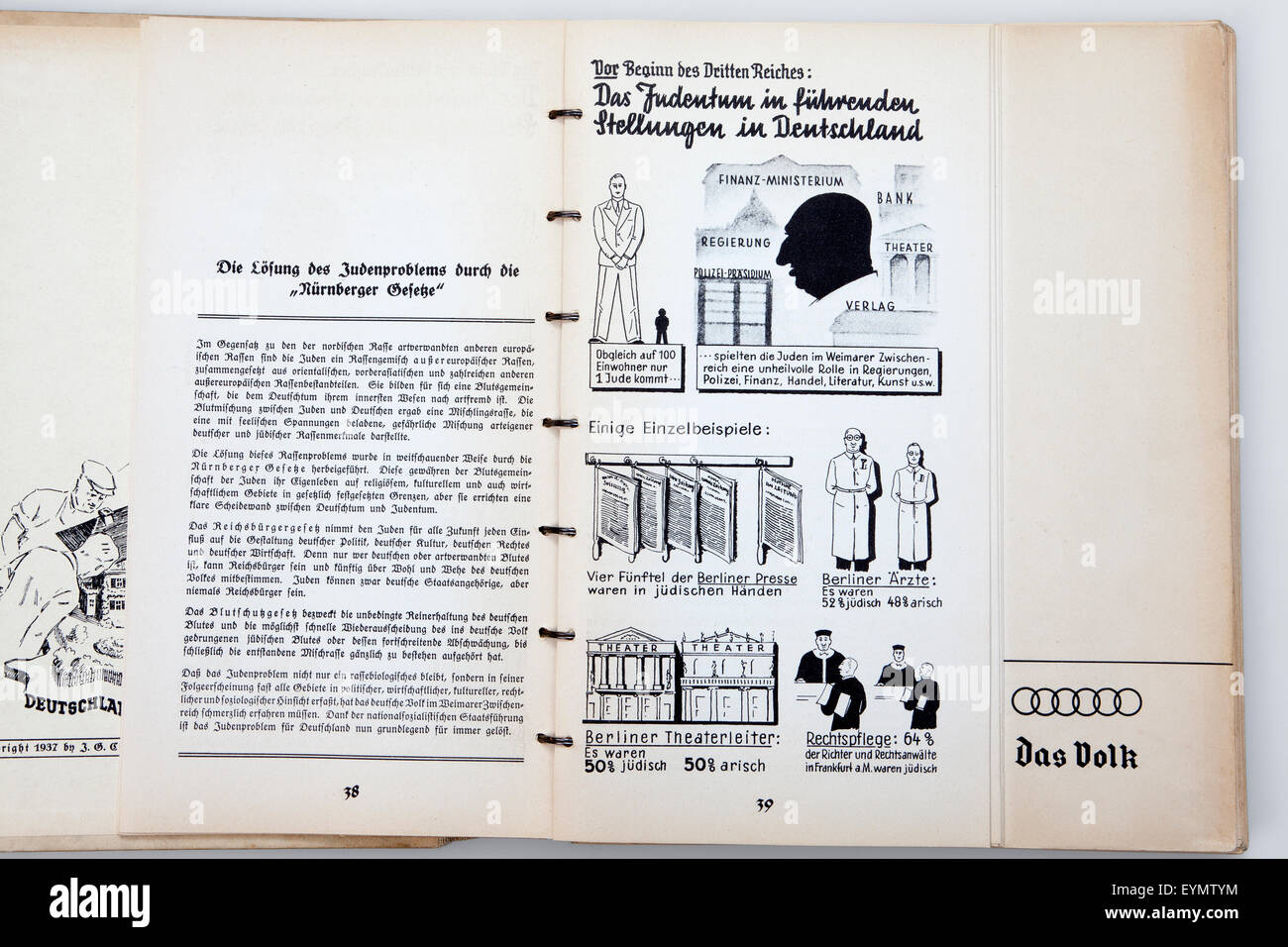 Nazi Third Reich illustrated guidebook to the infrastructure of Nazi-Germany, 1937, - Stock Image