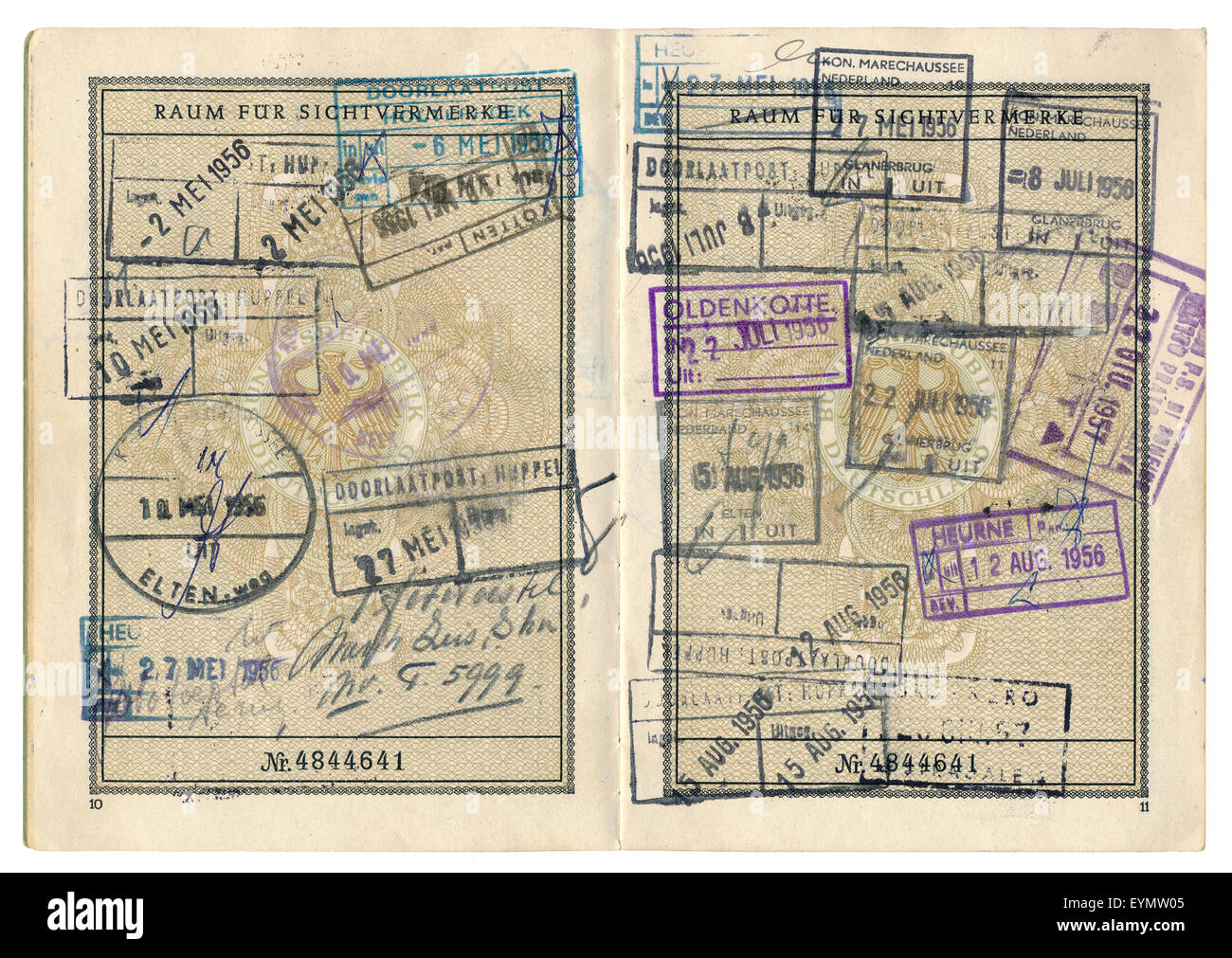 Old German passport with various visa entries from the Netherlands, 1956, Germany, Europe, - Stock Image