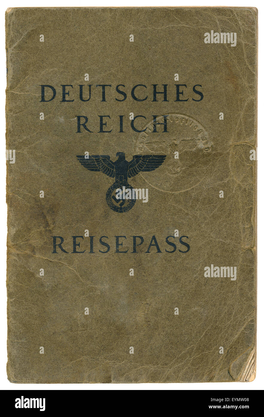 Old passport, c. 1937, German Empire, Europe - Stock Image
