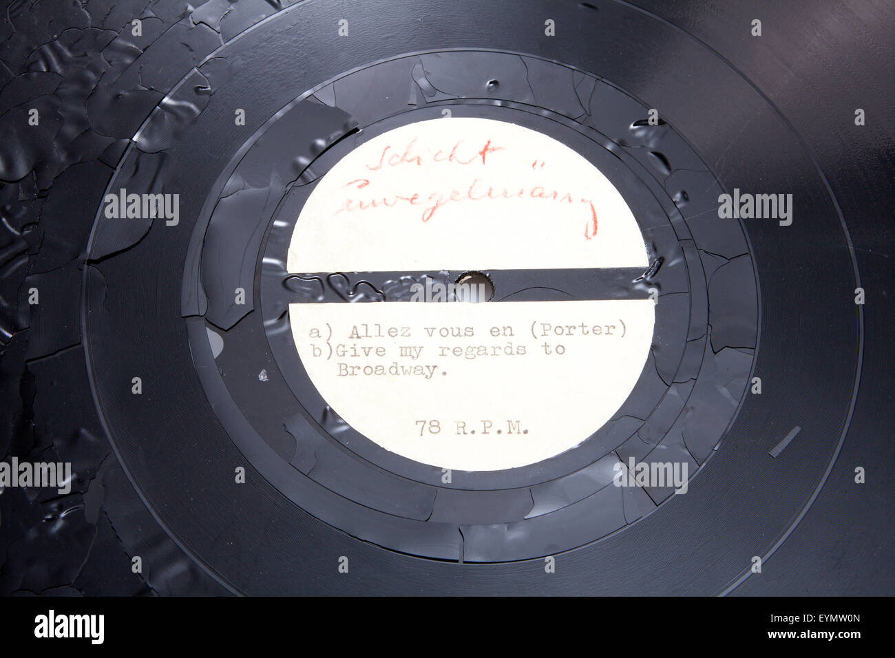 Old shellac record, early sample pressure - Stock Image