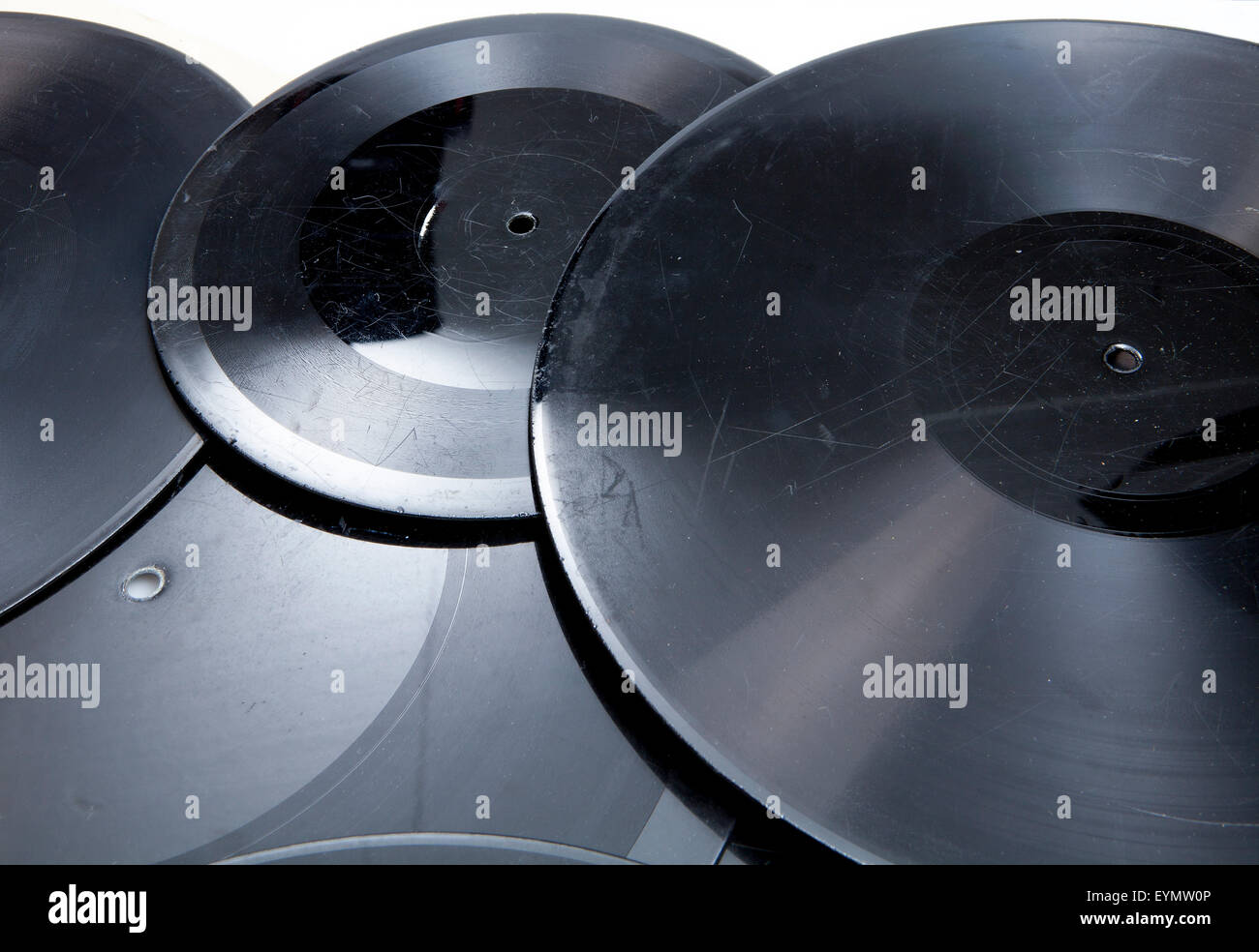 Old shellac records, early sample pressure - Stock Image