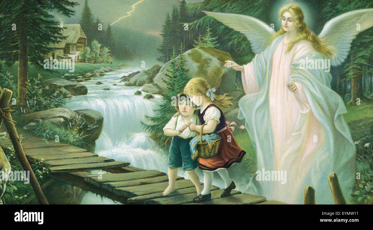 Guardian Angel Protecting Children Stock Photos Guardian Angel