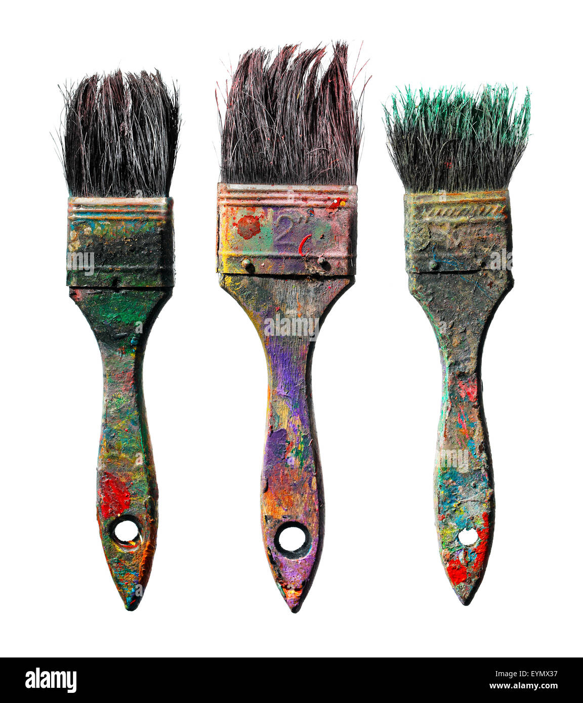 Old dirty paint brushes isolated on white. - Stock Image