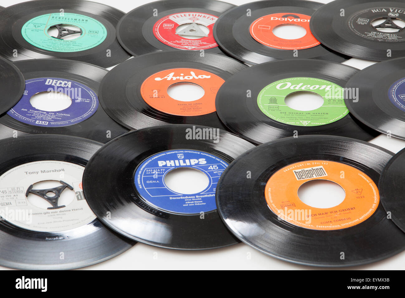 Old vinyl singles - Stock Image