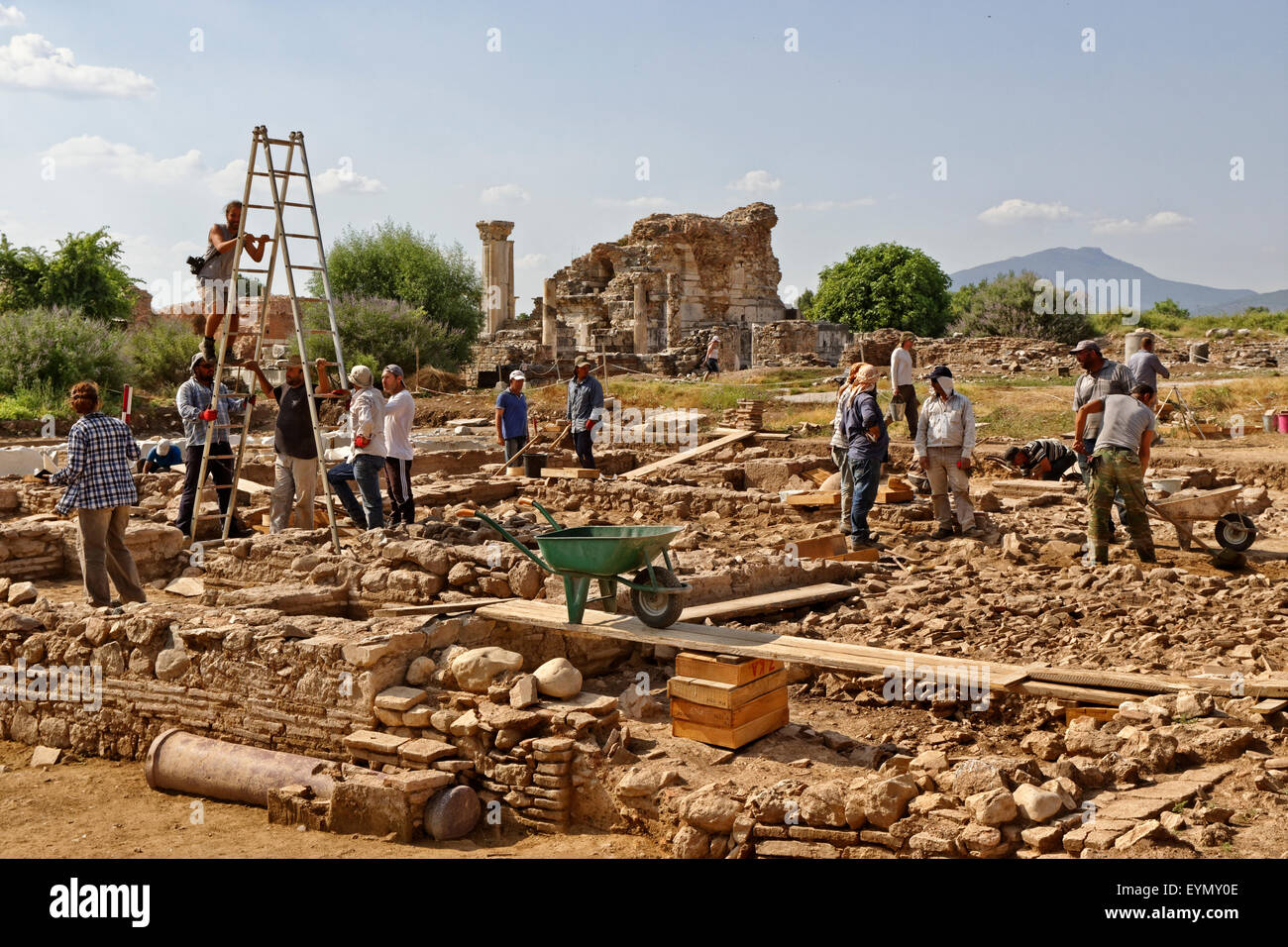 Ongoing archaeology work at the ancient Roman and Greek city of Ephesus near Selcuk, Kusadasi, Turkey. - Stock Image