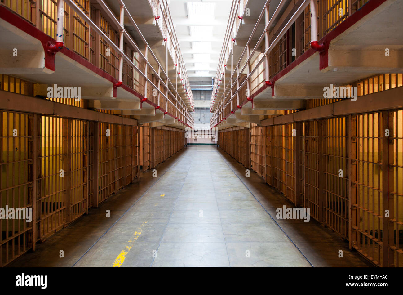 Prison Cells in Alcatraz, San Francisco, USA - Stock Image