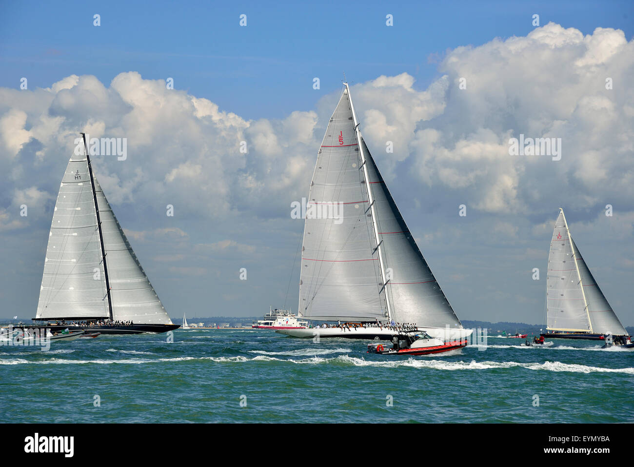 Cowes, Isle of Wight, UK. 31 July, 2015. The three J-Class yachts race across the Solent on the final day of racing Stock Photo
