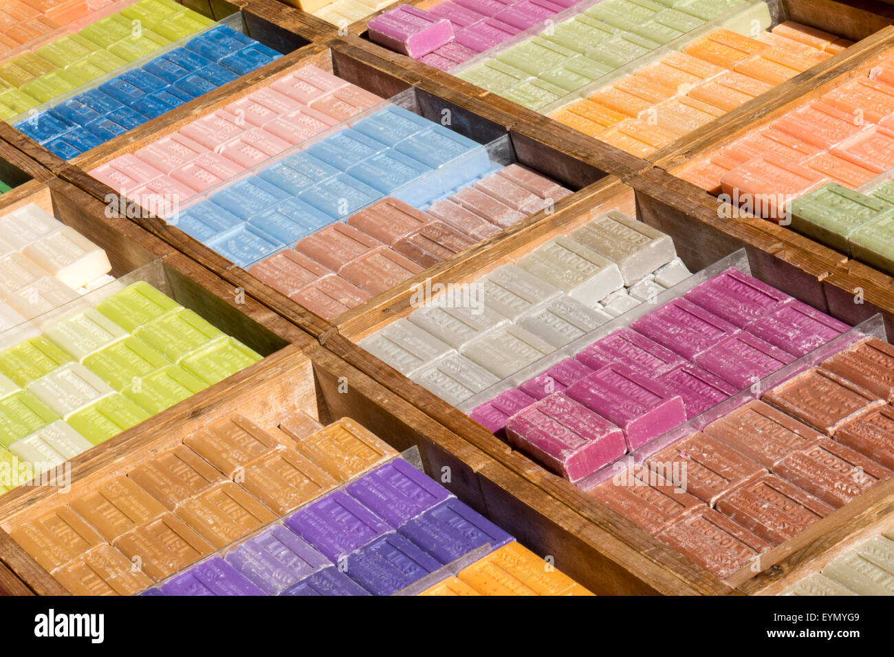 Assortment of bars of soap for sale on the market Stock Photo